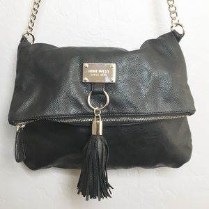 Nine West Crossbody Bag Fold Over Tassel Black
